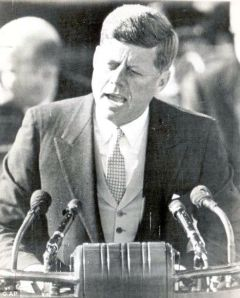 President John F Kennedy giving his inaugural address. Photo credit: UK Daily Mail